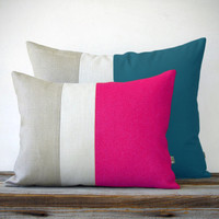 Color Block Pillow Set - (12x16) Hot Pink and (16x20) Teal by JillianReneDecor - Modern Home Decor - Teal and Hot Pink - Spring