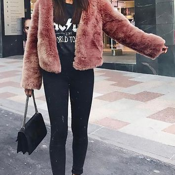 Own The Game Faux Fur Long Sleeve V Neck Jacket Outerwear - 3 Colors Available