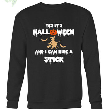 Halloween Witch And Stick Long Sweater