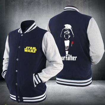 2017 New Star Wars Baseball Hoodie Jacket Darth Vader Jedi knight Winter Zipper Mens Sweatshirts Hot Sale USA EU size Plus size