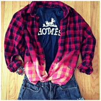 Flannel Buffalo Red Plaid Shirt 90s Button Up Grunge Bleach Dye Dipped Oversized Long Sleeve Vintage Lumberjack Slouchy Men Womans XL L M