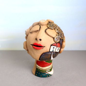 Ceramic figure , Ceramic sculpture , Sculpture , Girl , Gift for mom , Anniversary gift for wife , Ceramic home decor , Woman ,  Mother gift