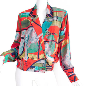 Sz S 1980s Colorful Abstract Print Rayon Jacket - Vintage Women's Oversize Double Breasted Shoulder Pad Blazer - Red Teal Navy Blue