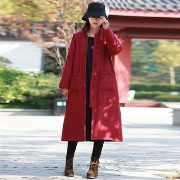 Johnature Women Chinese Style Parkas Coats Pockets Button 2017 Winter New Long Sleeve Cotton Linen Stand Thick Warm Women Parkas