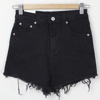 Distressed Denim Shorts with High Waist