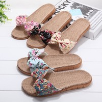 Linen Summer Couple Floral Anti-skid Bathroom Lovely Slippers [11626603919]