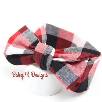 Plaid Head Wrap Newborn Headwrap Checkered Red Black White Baby Headband Bow Infant Toddler Girl Cotton Headband Big Bow Turban | Dress Sash