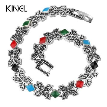 Kinel Hot Charm Bracelets For Women Silver Color Colorful Enamel Vintage Jewelry Best Friends Gift 2017 New