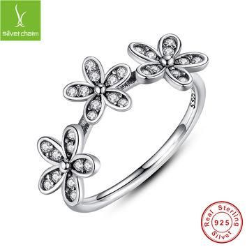 Authentic 100% 925 sterling Silver Dazzling Daisies Stackable Rings Compatible With Eu
