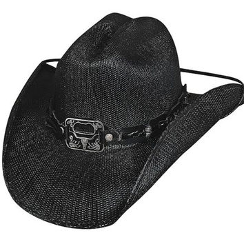 Twist Off Black Shantung Straw Cowboy Hat with Bottle Opener Concho (XL)