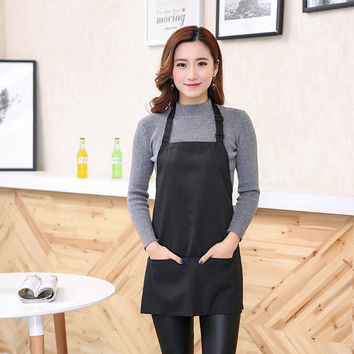 Oil-proof Adjustable Bib Apron Woman Adult Kitchen Cooking Apron With 2 Pockets