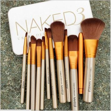 12 Pieces All Kinds Makeup Brushes Superior Professional Soft Cosmetic Naked Make Up Brush Set Woman's Toiletry Kit Makeup Tools