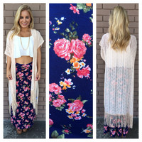 Navy Floral Roll Down Maxi Skirt