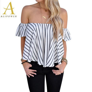 Women Blouses Sexy Off Shoulder Top Women's Shirt Loose Slash Neck Shirts Crop Tops and Blouses 2016 New Fashion Ruffles Sleeve