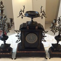 French Large Black Marble Mantle Clock with Candelabras
