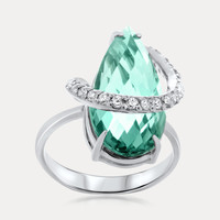 925 Silver Ring with Aquamarine