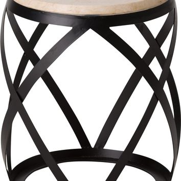 Knox Metal Stool/Table Powedercoated Black With A White Granite Top