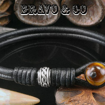 B-544 Sterling Silver, Leather & Tigers Eye Stone Surf Wristband Men Bracelet.