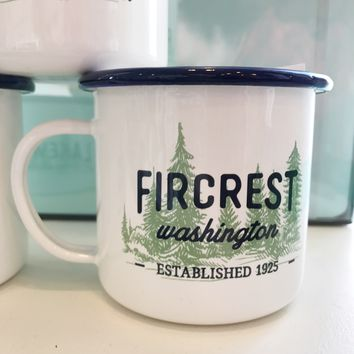 Fircrest Green Trees Enamel Mug