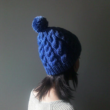 Hand Knitted Cable Chunky Beanie in Indigo - Beanie with Pom Pom - Seamless - Wool Blend - Winter Fall