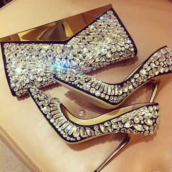Choudory 2017 Luxury Woman's Party Shoes High Heels Sexy Pointed Toe Rhinestone Stiletto Heels Slip-on Glitter Wedding Shoes