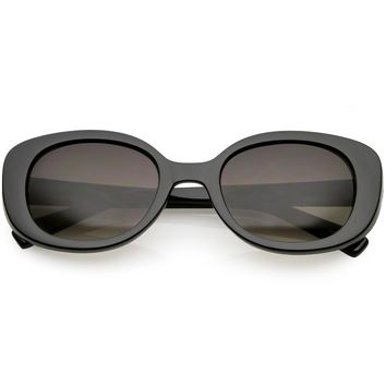 Retro Thick Chunky Oval Sunglasses Neutral Colored Round Lens 52mm