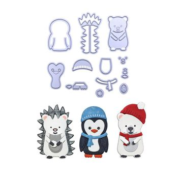 Cute Winter Animals Bear and Penguin Metal Cutting Dies Stencil for DIY Scrapbooking Photo Album Paper Cards Decorative Crafts