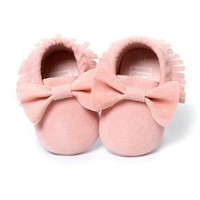0-18M Baby Girls shoes Tassels Shoes Pink Toddler Sneakers Baby Shoes for girl Bowknot