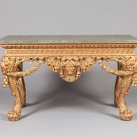 Pair of Giltwood and Marble Console Tables