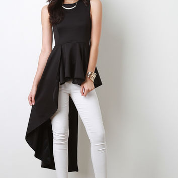 Sleeveless Asymmetrical Peplum Top