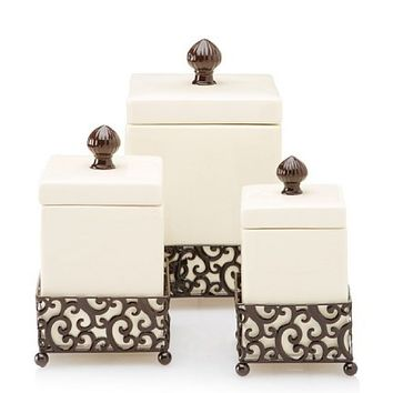 Home Essentials Set of 3 Danbury Square Canisters with Pressed Metal Holders, Off-White/Bronze at MYHABIT