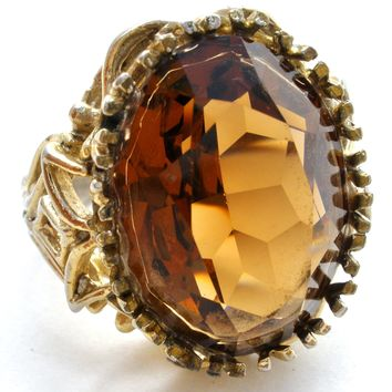Vintage Amber Glass Ring Size 7.5
