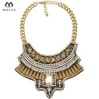 High Quality Crystal Necklace Women Luxury High Quality Beads Pave Pendant Gold Plated Chunky Chain Statement Necklace NK1259