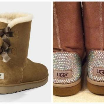 ICIK8X2 Chestnut Ugg Bailey Bow Boots with Swarovski Crystal Embellishment - Bling Pink and Te