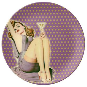 purple polka dots fashion girly retro pin up girl