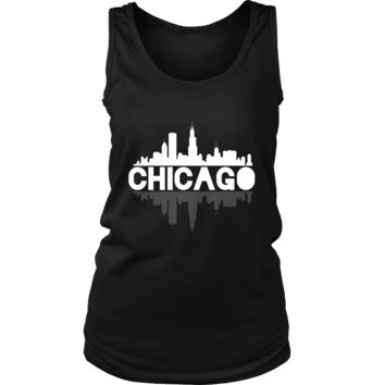 Chicago City Skyline Landmark Shirt U.S.A Souvenir Travel Women's Tank Top