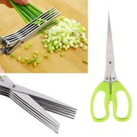 Multi-functional Stainless Steel  Knives 5 Layers Scissors Sushi Shredded Scallion Cut