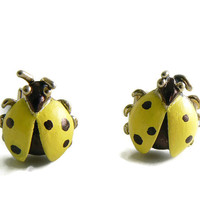 Vintage Swank Yellow Ladybug Beetle Bug Insect Cuff Links