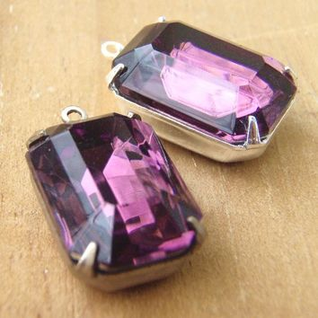 Amethyst Glass Bead Set, Silver Settings, Vintage Rhinestone Jewels, 16mm x 11mm Octagon Pendant, 12mm x 10mm Ovals, Necklace and Earrings