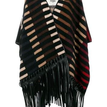 DCCKIN3 Fendi Striped Fringed Poncho