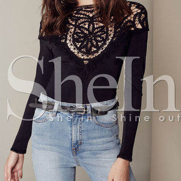 Black Lace Embroidered Backless T-Shirt