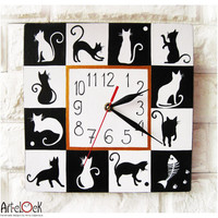 The Black and White Cats Hand Painted Wall Clock by ArtClock