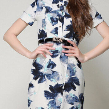 Vintage Floral Graphic Print High Neck Short-Sleeve Sheath Black Belted Dress