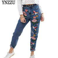 YNZZU American Apparel Spring Casual Women Pencil Jeans Birds Embroidery Colorful Fashion Women Mom Denim Pants Bottoms YB104