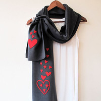 Valentines Day, Red Heart Scarf, Fleece, Winter Scarf, Scarves, Fashion Accessories, Valentines Day Gift