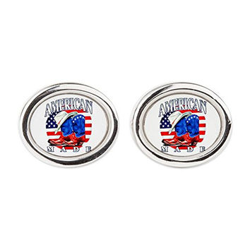 Cufflinks (Oval) US American Flag Country Cowboy Boots