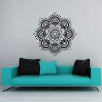 Mandala Wall Decals Lotus Flower Namaste Ornament Indian Geometric Moroccan Pattern Yoga Wall Vinyl Decal Stickers Bedroom Murals