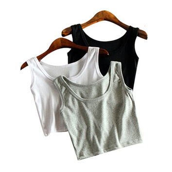 Mileegirl Summer Slim Render Short Top Women Sleeveless U Croptops Tank Tops Solid Black/White Crop Tops Vest Tube Top 7Color