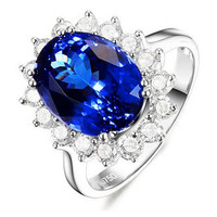 Luxury 3 carat 925 sterling silver ring high-end sapphire tanzanite ring wedding ring for women US size from 4.5 to 9
