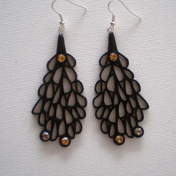 Earrings, contemporary jewelry design, Limited edition, FREE Shipping, lasercut wood, Swarovski crystals, steel